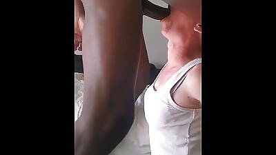 Submissive French whore deepthroats and gags not susceptible my cock