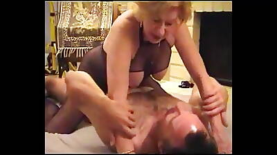 POONTANG – 74yo Gisele almost Fishnet Body Stocking Fucks Young Guy