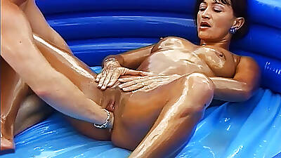 Oiled stepmom gets fisted doused