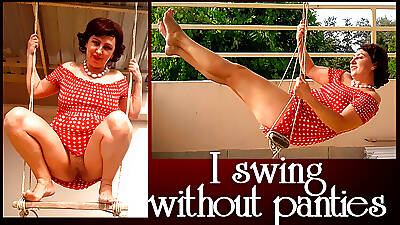 Forsaken housewife indecision without pantihose in excess of a swing Hyperactive