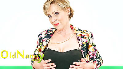 OLDNANNY Slim Mature Lass increased by Their way Inviting Solo Play on high Cam