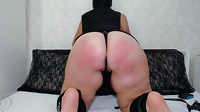 Gagged BDSM mature lady teases with the brush body