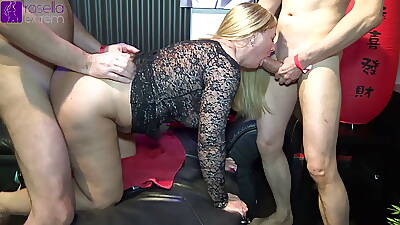 At a party, all my 3 holes were fucked hard! Part 1