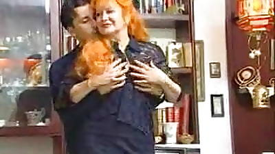 Naughty Redhead Granny Satisfied By Young Mendicant