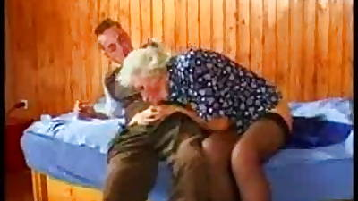 Busty German Granny fucks young Scrounger