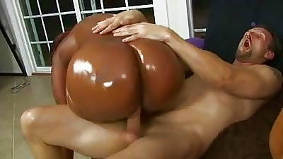 Lucky white stud gets his throbbing cock deep-throated by twosome black whores