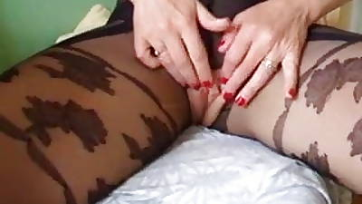 Mature Making Stocking Pantyhose Strip