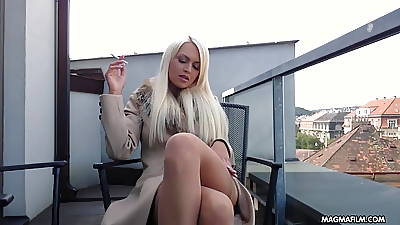 MAGMA FILM Shove around blonde German toddler rubs the brush elegant pussy