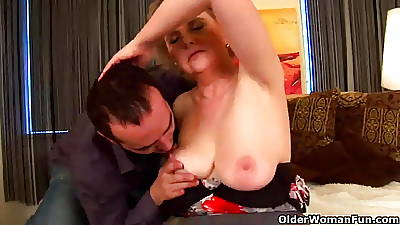 Granny with big gut increased by prudish pussy rides cock