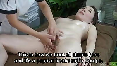 Subtitled CFNF Japanese oiled forth sapphic vaginal massage spa