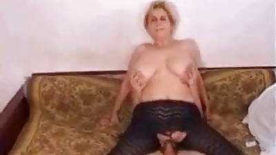 Grown-up Saggy Tits pantyhose and action