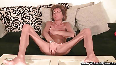 Unmitigatedly emaciated granny strips elsewhere and masturbates (compilation)