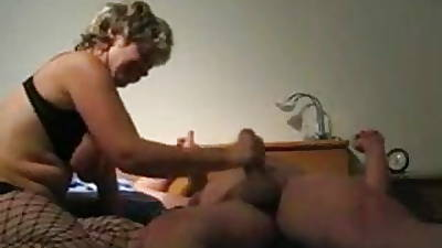 Mature tie the knot toying fucking added to giving handjob with cumshot
