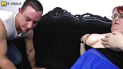 Mature BBW mom loves having hard sex encircling young manhood