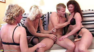Youngsters sucked added to fucked by mature whore moms