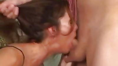 Skinny Grown up Brunette Sherry Wyne Gets Her Throat Fucked