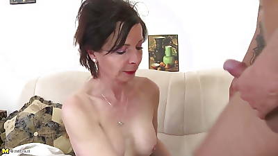 Skinny granny drag inflate together with fuck young boy's cock