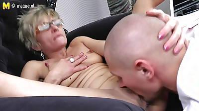Hot shrunken grandma gets fucked by her toy boy