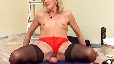 Underfed Blonde Mature with regard to Stockings Fucks the Decorator