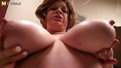 Matured American Jocular mater less saggy big breast