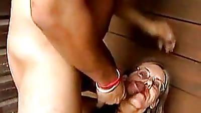 Granny gets a humiliating facial at a verandah