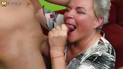 Naughty big grandma having sex with say no to young manhood