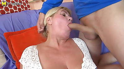 Sweet busty old lady fucks her young brat
