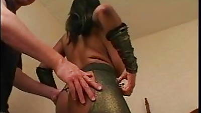 White guy sucks on ebony chicks large natural tits