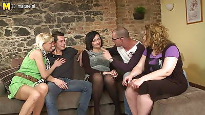 Two guys having it away three matured moms in group sex