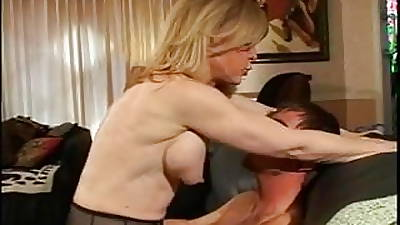 Kermis MILF strips for young dude who sucks her hard nipples