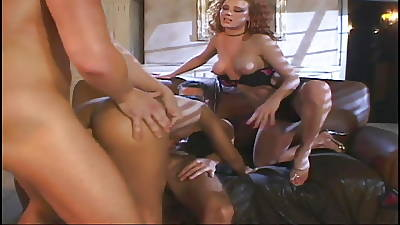 Redhead coupled with Asian babes gets fucked by two hunks