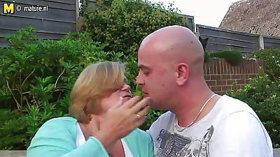 UK granny fucked by young boy to her garden