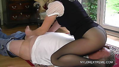 Smothered in pantyhose with the addition of nylon handjob