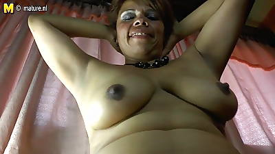 Tyro Latina of age mom coupled with her hairy pussy