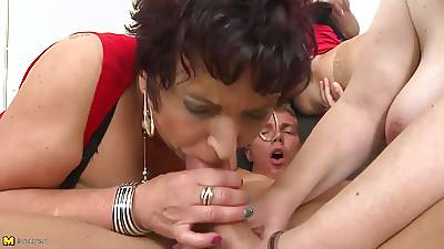 Taboo organize mating with mature moms plus granny
