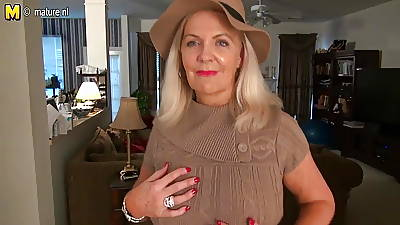 Naughty American mature female parent with hot crestfallen body