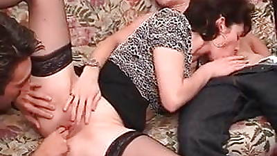 French milf gets facsimile teamed before a good facial cumshot