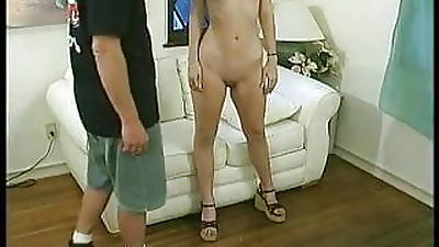 Fair-haired slut with flat chest gets her racy shaved cunt fucked by stud indoors