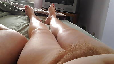 my uncut cock, wifes feet,hairy pussy,tits & chubby belly.