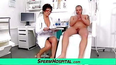 Busty cougar doctor Greta old and young cfnm