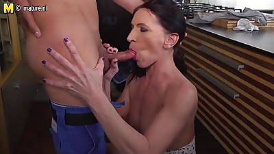 Mom nipper hot sex in kitchen together with bedroom