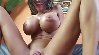 Oustandingly silicone boobs milf rides young cock