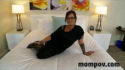 Brunette blowjob instructor does first porn