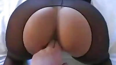 Peaches MILF in crotchless pantyhose fucks