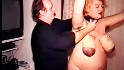 Pierced granny tits tied in ropes and tortured