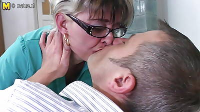 Naughty mature slut mom shafting younger dude