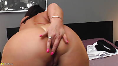 Mature chubby ass female parent with hungry ass and pussy