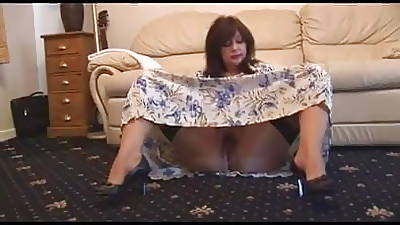 Queasy mature in white panties plus stockings