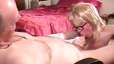 Naughty mommy doing a fine experienced blowjob