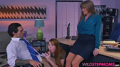 Redhead Darla and horny Gwen loves to allotment twosome big cock